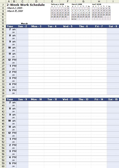 Work Schedule Template For Excel Work Calendar Template