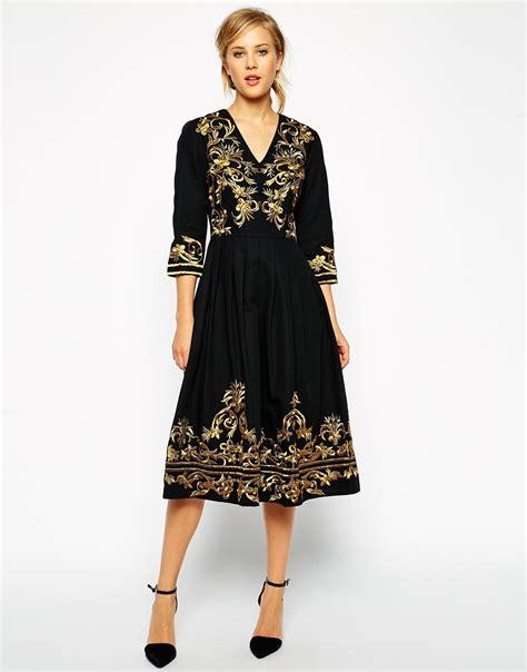 Dress Midi Kalung Premium lyst asos premium midi dress with metallic embroidery in black