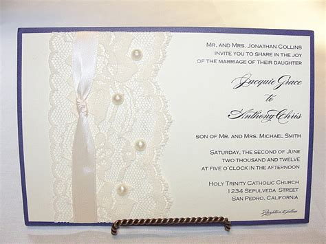 wedding invitations with pearls pearl and lace wedding invitations