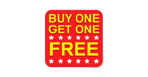buy one buy one get one free yellow retail stickers zazzle