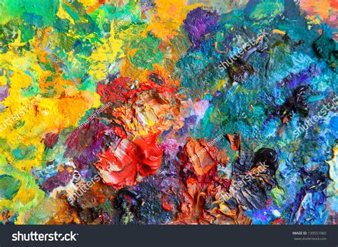 painting up background image bright oilpaint palette closeup stock