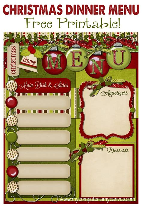 my computer is my canvas freebie christmas dinner menu