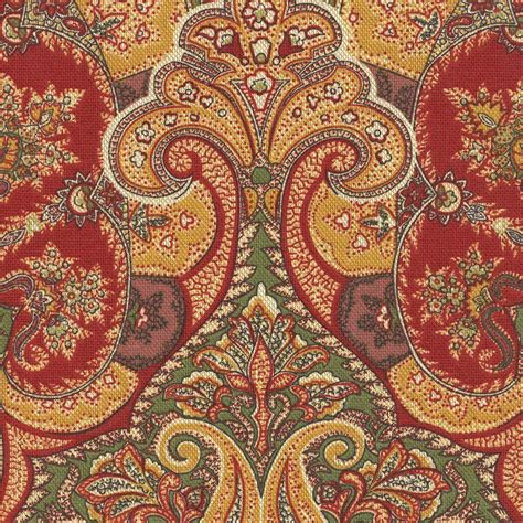 red gold upholstery fabric bloomcraft paisley cinnamon red gold green drapery