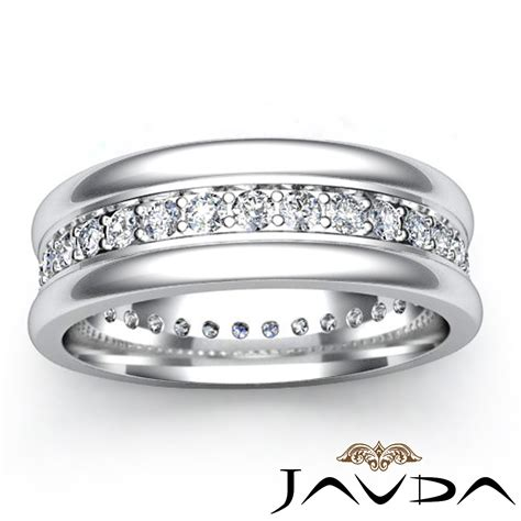 pave solid ring 18k white gold mens eternity