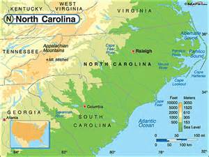 physical map of nc carolina physical map by maps from maps