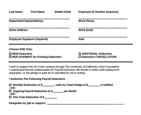 Loan Deduction Letter Format Sle Payroll Deduction Form 10 Free Documents