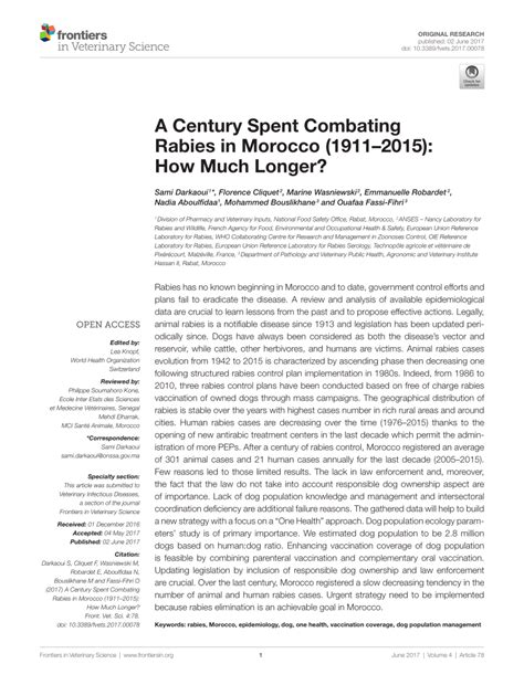 how much is rabies for a century spent combating rabies in morocco 1911 2015 how much longer pdf