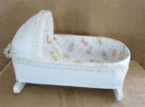 Beds For Baby Dolls by Vintage Baby Doll Cradle Bed White Wicker Rocking 20 Quot