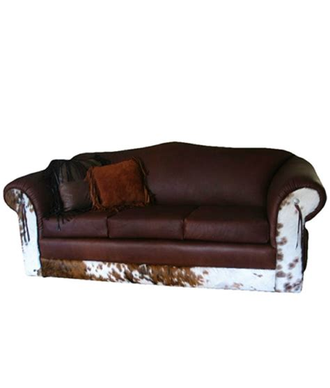 Cowhide Leather Sofa Cowhide And Leather Sofa Rustic And Western Furniture