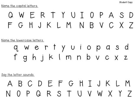 printable alphabet recognition assessment 8 best images of printable letter identification letter