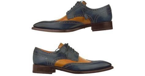 Handcrafted Leather Shoes - forzieri two tone handcrafted leather wingtip oxford shoes