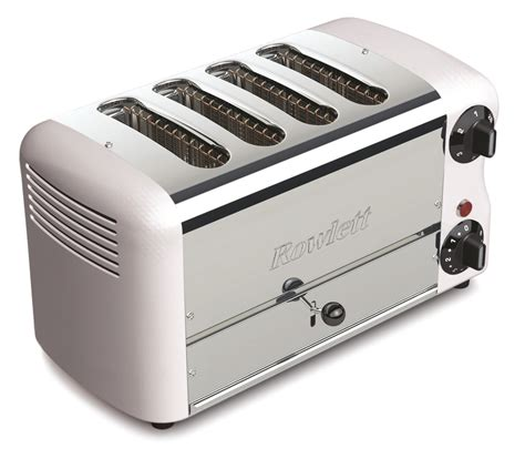 Toaster Rowlett rowlett esprit 4 wide slot bread toaster with bun mode with white ends at barnitts store