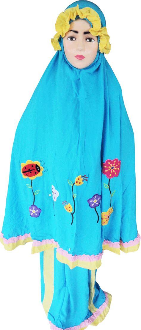 Mukena Katun Bunga Biru paket mukena dan sajadah motif bunga kepik produsen