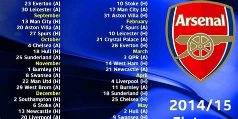 arsenal home fixtures arsenal 2014 15 fixtures in ist indian standard time