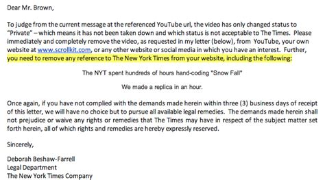 Negative Character Reference Letter For Court New York Times Tells Startup It Can T Even Mention The Ny Times Techdirt