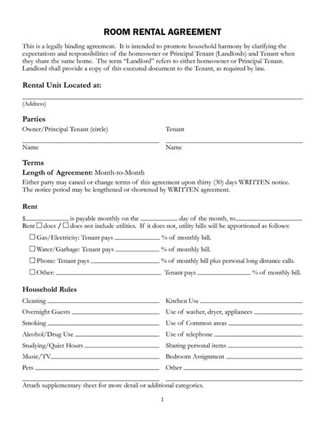 Agreement Letter For Renting A Room free printable rental lease agreement form template