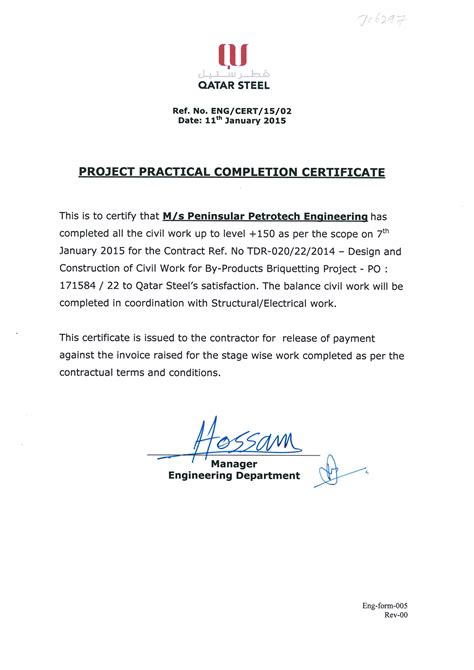 practical completion certificate template uk certificates peninsular petrotech engineering w l l