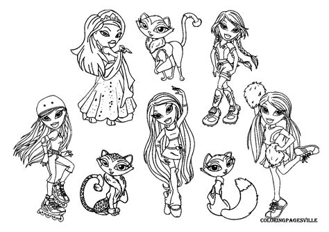 bratz dolls coloring pages coloring pages