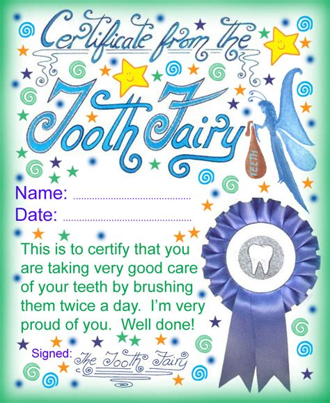 free tooth certificate template tooth certificate well done for brushing your teeth
