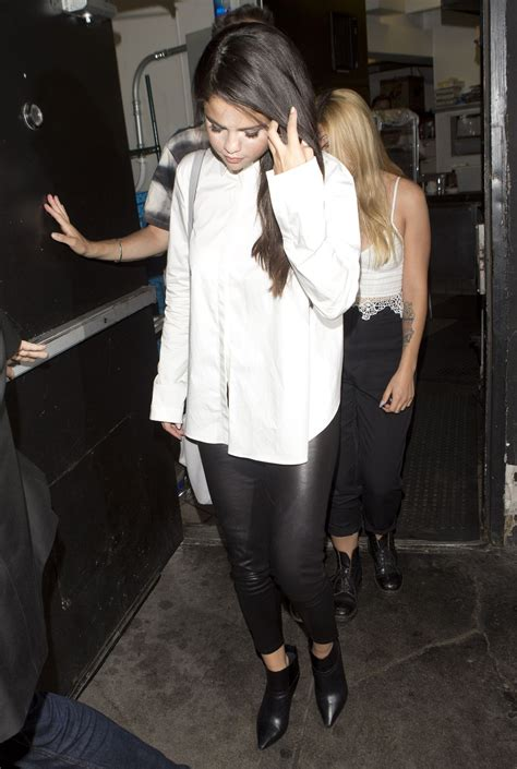 Leather Wearing Out by Selena Gomez Wearing Leather Out In West