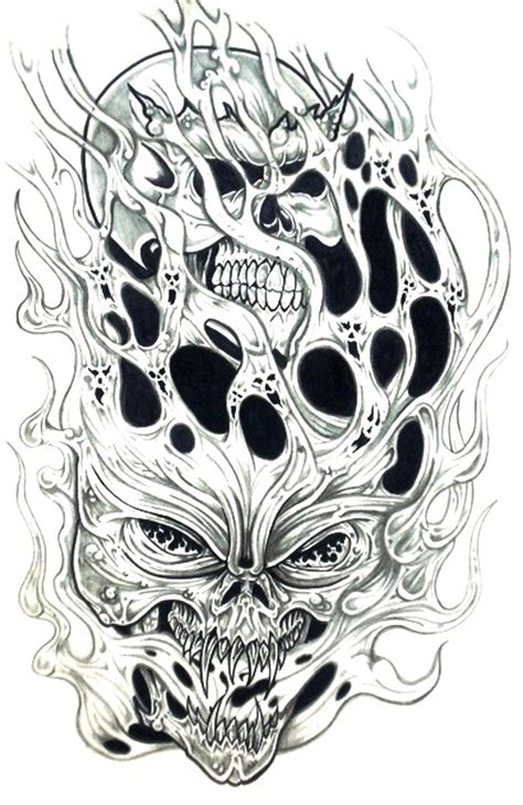 skull tattoo flash designs black and white drawings search coloring