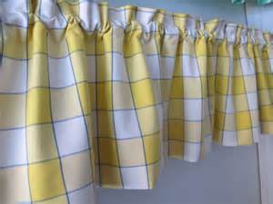 Blue And Yellow Kitchen Curtains Blue Yellow Window Pane Plaid Valance Whimsical Kitchen