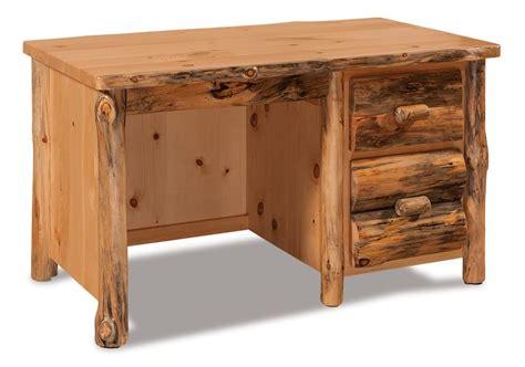 rustic desk amish rustic pine log single pedestal writing desk