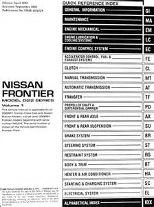 2000 nissan frontier repair shop manual set original