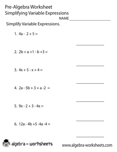 Prealgebra Worksheets by Printable Pre Algebra Assessment Trials Ireland
