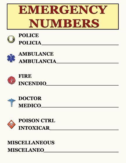 Emergency Numbers Card Template by Emergency Contact Numbersposter