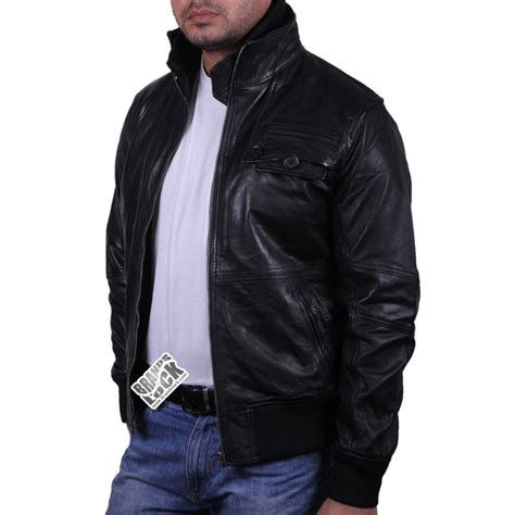 Leather Bomber Jacket s black leather bomber jacket falcon