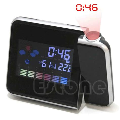 lcd digital led projector projection alarm clock snooze weather station calendar ebay