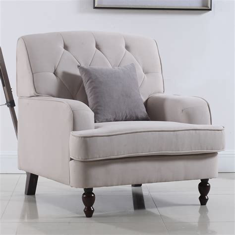 Fabric Chairs Living Room Home Usa Modern Tufted Fabric Living Room Arm Chair Reviews Wayfair