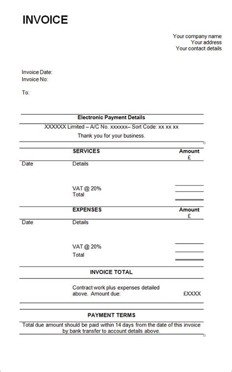sle contractor invoice templates 14 free documents