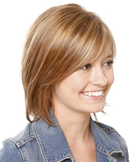 collar length hairstyles for women medium straight casual hairstyle with side swept bangs