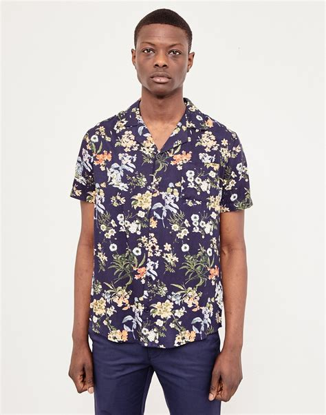 hawaiian pattern suit the idle man floral print revere collar shirt navy at the