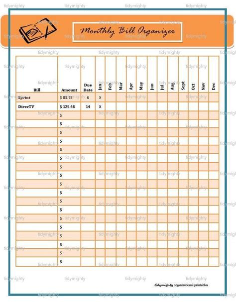 top free monthly bill planner template free template 2018