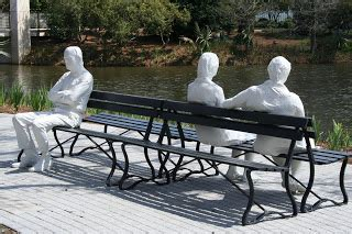 three figures and four benches art e walk march 2010