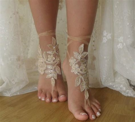 Lace Sandals Wedding by Chagne Lace Barefoot Sandals Wedding Lace Shoes