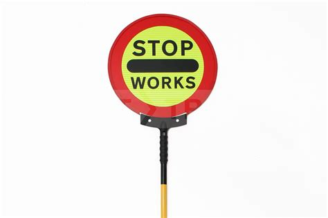 the stop stop works sign roundup start traffic