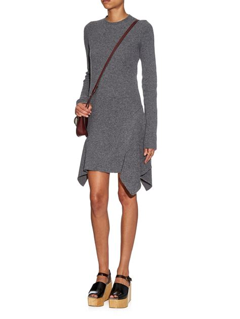 Simple Asimetris Knitt Dress stella mccartney asymmetric ribbed knit dress in gray lyst