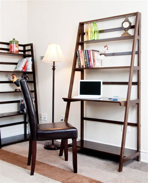 Ladder Bookshelf And Desk Furniture Kicking Ladder Shelf Ladder Desk With Shelves