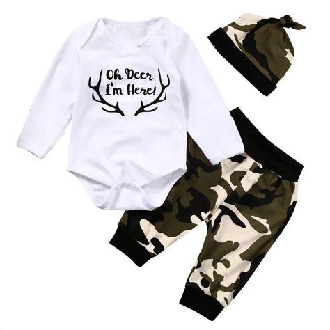 Boogybaby 3pcs Jumpsuit White Series Boy Set Newborn Limited Us Stock Camo Newborn Baby Boys Top Romper Harem