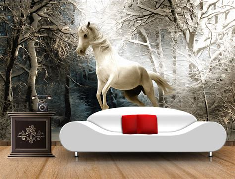 horse wallpaper for bedrooms custom 3d horse wallpaper the winter forest murals for