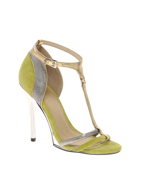 green high heel sandals asos asos hallow suede high heel sandals in green lyst