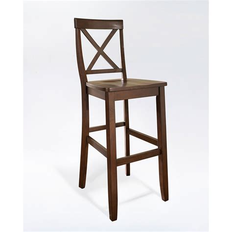 30 seat height bar stools crosley furniture x back bar stool in mahogany finish with