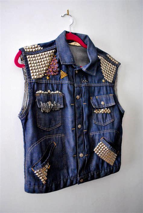 Jaket Rock Denim Vintage 1970s Rock Studded Spiked Blue Denim Jean Jacket