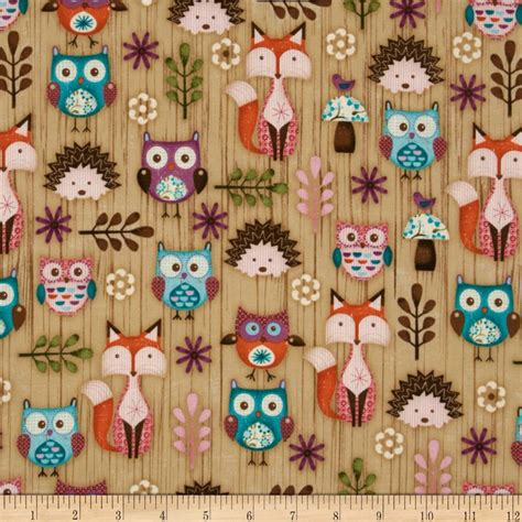 printable fabric sheets spotlight woodland critters set animals beige discount designer