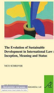 the significance of sustainability books the evolution of sustainable development in international