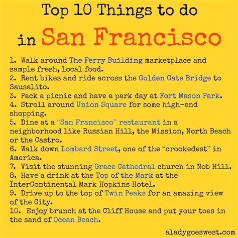 top 10 things a should be able to top 10 things to do in san francisco a goes west